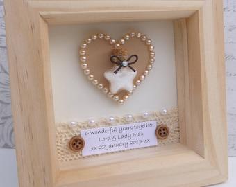 6th anniversary gift, 6th wedding anniversary present, sugar anniversary gift, 6th sugar wedding gift, personalised frame, handmade