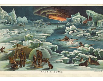 Yaggys Arctic Zone Geographical Print - Gift for Geologist - Geography Decor - Earth Science Poster - Eskimo Inuit Native American Art