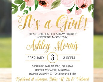 Baby shower invitation pink and gold, baby shower invitation girl printable, baby shower invitation for girl, baby shower invitation floral