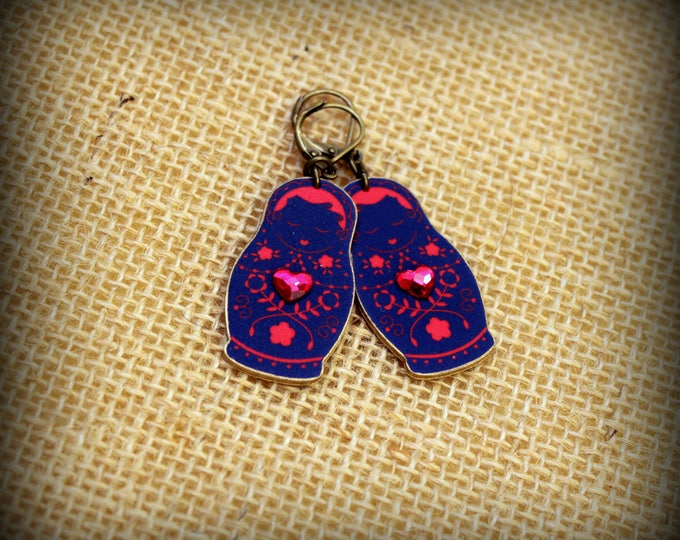 Russian earrings - Russian jewelry - Nesting Dolls - Nesting doll earrings - Matryoshka dolls - Babushka dolls - Doll Charm - Shrink plastic