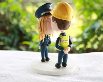 Police Officer and Construction worker. Couple kissing. Couple in uniform . Handmade. Fully customizable. Unique keepsake.