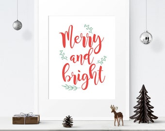 Merry and Bright sign, Christmas printable decor, Wall art, Christmas sign, Holiday decor, Instant download, Iloveprintable, Handlettered