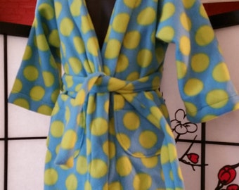 Blue and Green Polka Dot Childs Bathrobe with Pockets and Ties Size 3/4