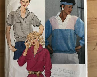 Butterick 6302 - 1980s Loose Fitting Pullover Top with Front Inset and Standing Neckline with Zipper Front and Contrast Fabric - 14 16 18