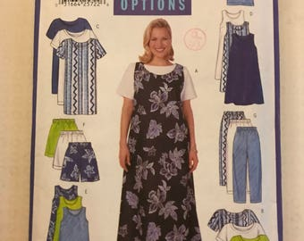 Butterick 5058 - Fast and Easy Dress or Jumper, Short Sleeved Shirt, Pull On Pants or Shorts - Size 28 30 32