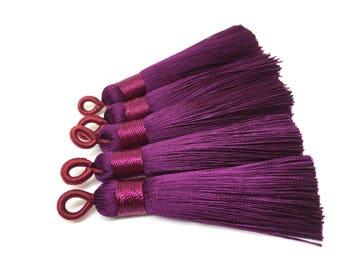 Eggplant Purple Tassels, tassel earrings, Silk Tassels, 2.5 Inch 65mm Tassel, purple jewelry, tassel necklace, purple necklace, long purple