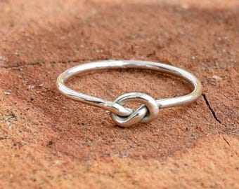 Knot Ring, Silver Stacking Ring, Skinny Silver Ring, Sterling Silver Ring, Dainty Ring, Silver Knuckle Ring, Dainty Ring