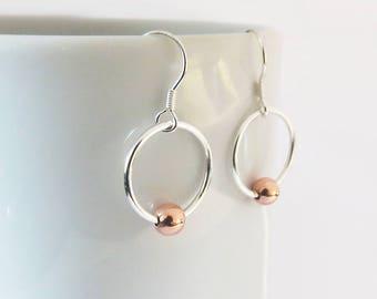 Mixed Metal Circle Earrings, Copper Ball Earrings, Minimalist Earrings, 925 Sterling Silver Dangle Earrings, Gift For Her, Handmade Jewelry