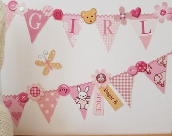 Baby Girl Bunting Greeting Card,  A New Little One card, Pink baby girl Sugar & Spice Bunting Printed card, Patch Work style Baby card