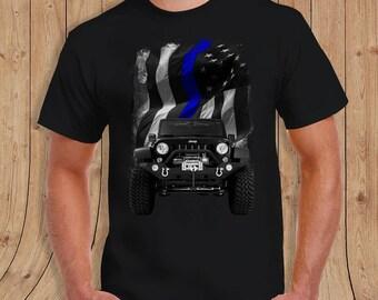 The thin Blue Line American Flag thin blue line Jeep Shirt Black- t-Shirt Mens / womens/youth