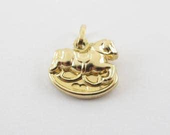 Rocking Horse Charm 14k Yellow Gold Pendant