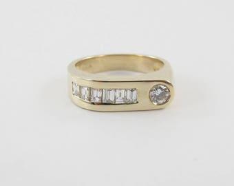 14k Yellow Gold Men's Diamond Band Ring Size 9 1/2 1.00 carat
