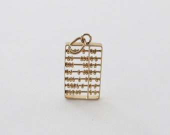 Vintage 14k Yellow Gold Chinese Abacus Charm Pendant -Abacus With Moving Beads