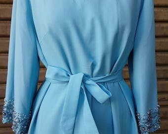 Vintage Jackie Kennedy Style, Sky Blue Floral Embroidered Evening Ensemble, late 50's early 60s