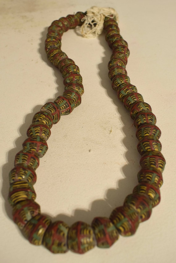 Beads African Vintage Green Yellow Red Trade Beads Jewelry Necklace Bracelets African Beads