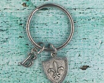 Pewter 3D Fleur de lis Charm Key Ring, Fleur de lis Initial Key Chain, Fleur de lis Stainless Steel Key Ring, Fleur de lis Charm