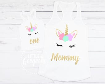 Unicorn Mommy Tanktop, Mommy Unicorn Shirt, Unicorn Mom Tanktop, Unicorn First Birthday Outfit, Mommy and Me Unicorn, 1st Birthday girl