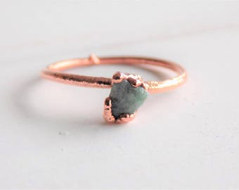 Raw emerald ring - copper stacking ring - raw emerald copper ring - emerald stacking ring - May birthstone ring - boho ring - gifts for her