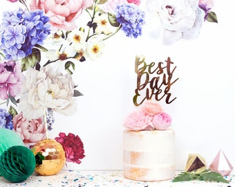 Wedding cake topper - Best Day Ever cake topper  - personalised cake topper - Wedding decoration - Rose Gold Wedding decor