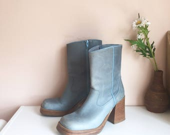 vintage blue leather boots // size 6.5 US womens