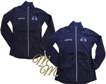 Monogram Nurse Jacket - Black Fleece Jacket - Ladies Fleece - Plus Size Jacket - RN Apparel - Medical Jacket - Personalized Jacket