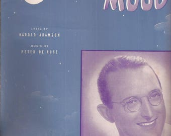 Moonlight Mood, Featured by Tommy Dorsey and his Orchestra, Vintage Sheet Music, Cloudy Night Sky, Musical Home Decor