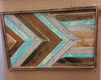 Reclaimed Wood Wall Art, arrow Barnwood, Chevron Pattern