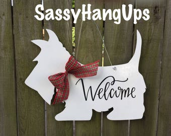 Scottie Dog Door Hanger, Scottie Dog, Scottish Terrier, Scottie, Scottie Door Hanger, Scottie Dog Welcome Sign, Scottie Dog Decal