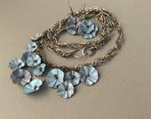 RESERVED FOR T. Silver necklace, rustic blue flowers bib and earrings set, handmade chain