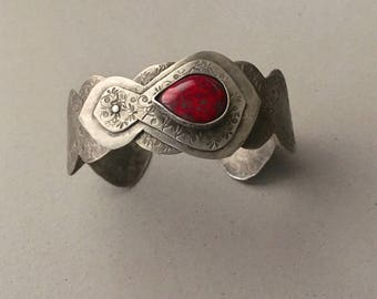 Victorian silver cuff, red Czech glass, hammered riveted layers