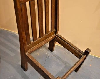 Primitive Antique Vintage Arts and Crafts Mission Style Oak Low Chair with Inlay