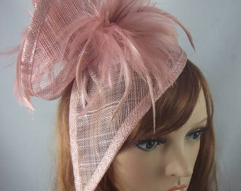Blush Pink Sinamay & Feathers Twist Fascinator - Hat Occasion Wedding Races