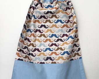 Christmas, canteen * bib, napkin, canteen, with elastic at the neck - cotton dandy mustaches, not customizable, in stock