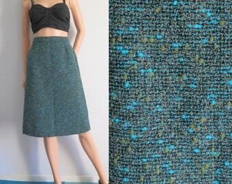Green wool tweed winter skirt, french vintage, a line, high waisted, knee length, small medium, waist 28.5