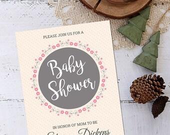 Baby Shower Invitation, Girl Baby Shower Invitation, Baby Shower Invitation for a Girl, Baby Shower, Invitation, Customizable