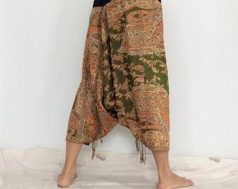 Touch Soft Silk..Green Orange Soft Silk Harem Pants with  Leaf patterned (HR-593)