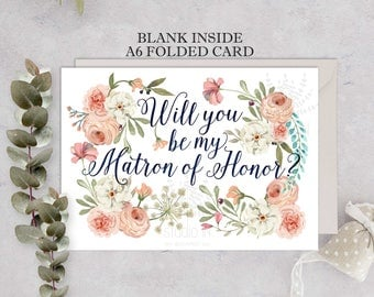 Matron of Honor Card set, Will You Be My Matron of honor, Wedding Card, Floral Card, Bridal Party, floral matron of honor card