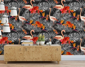 flamingo tapete etsy. Black Bedroom Furniture Sets. Home Design Ideas