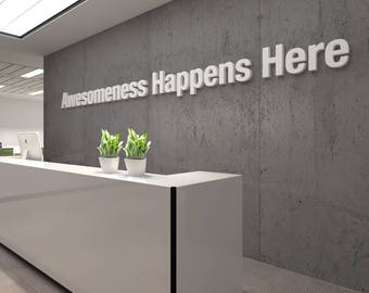 Awesome, Office, 3D, Typography, Wall, Art, Decor, PVC, Inspirational, Motivational, Work, Sucess, Decals, Stickers - SKU:AHH