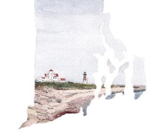 Rhode Island watercolor state art print - Rhode Island map - RI gift - Point Judith lighthouse art - state artwork - available in any state