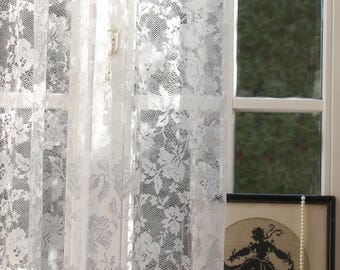 ISABÉLLE' Charming White and Cream Color Romantical Rose Patterned Full Lenght French  Lace Curtain Sale By the Yard or Made To Order