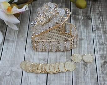 FAST SHIPPING!! Elegant and Sparkling Arras, Arras de Boda, Wedding Coins, Wedding Unity Coins, Arras para boda, Gold Heart Treasurer Chest