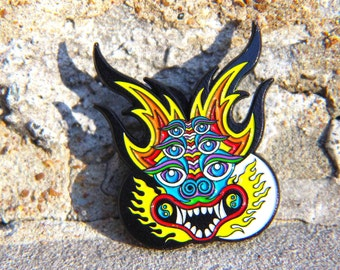 Chinese Dragon Pin Hat Lapel Festival EDM Rave Snapback Psychedelic Acid Trippy
