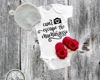 Baby Onesie®, Can't escape the Mamarazzi, Baby Shower Gift, Papparazzi, Funny Onesies®, Cute Baby Onesies®, Cool Baby, Newborn onesie®