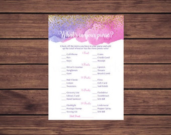 What's in Your Purse Game, Whats in Your Purse, Pink Purple and Gold Confetti Instant Download PDF Printable 254