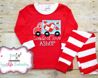 Valentine's Day pajamas, Valentine's Day Pj, loads of love, boy child kid baby toddler infant applique embroidery monogram name