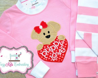 Red Pink Valentineu0027s Day Vday Pajamas Pj Puppy Love Heart Girl Child Kid  Baby Toddler Infant