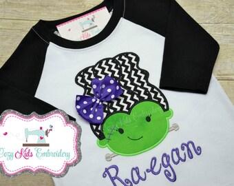 Halloween Shirt, Girls Halloween Shirt, Kids Halloween Shirt, Childrens Halloween Shirt, Frankenstein Bride Applique Embroidery