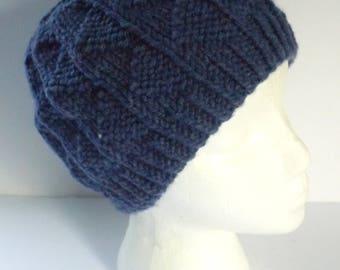 Handknit Denim Blue Messy Bun Hat, Men's Ponytail Hat, Teens Ponytail Hat, Ladies Winter Hat, Denim Blue Acrylic Worsted Weight Yarn # 132