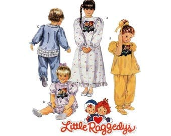 Girl's Sleepwear Nightgown, Pajamas, Jumpsuit Sewing Pattern, Toddler Size 2-3-4 UNCUT Vintage 1990's Little Raggedys McCall's 5702